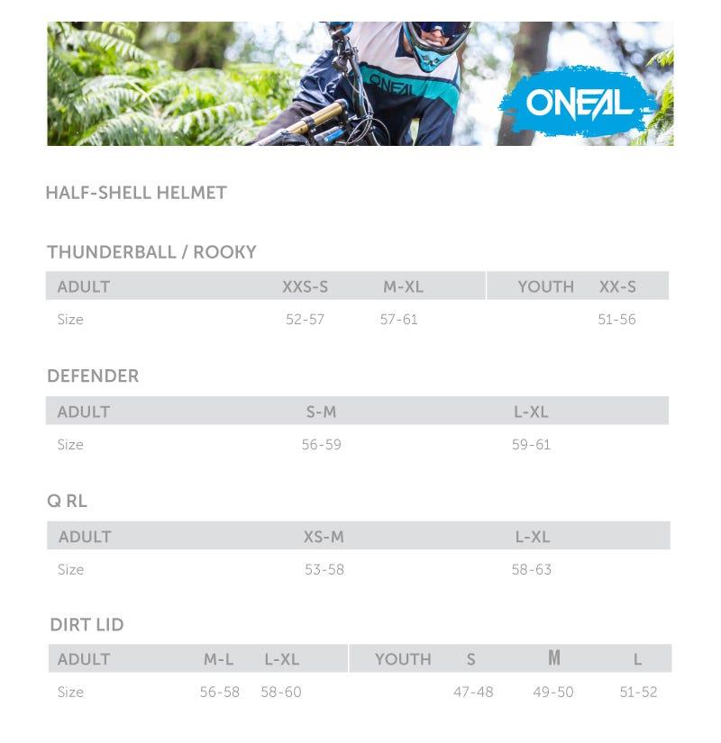 O'Neal helmet Size Chart - E Scooters
