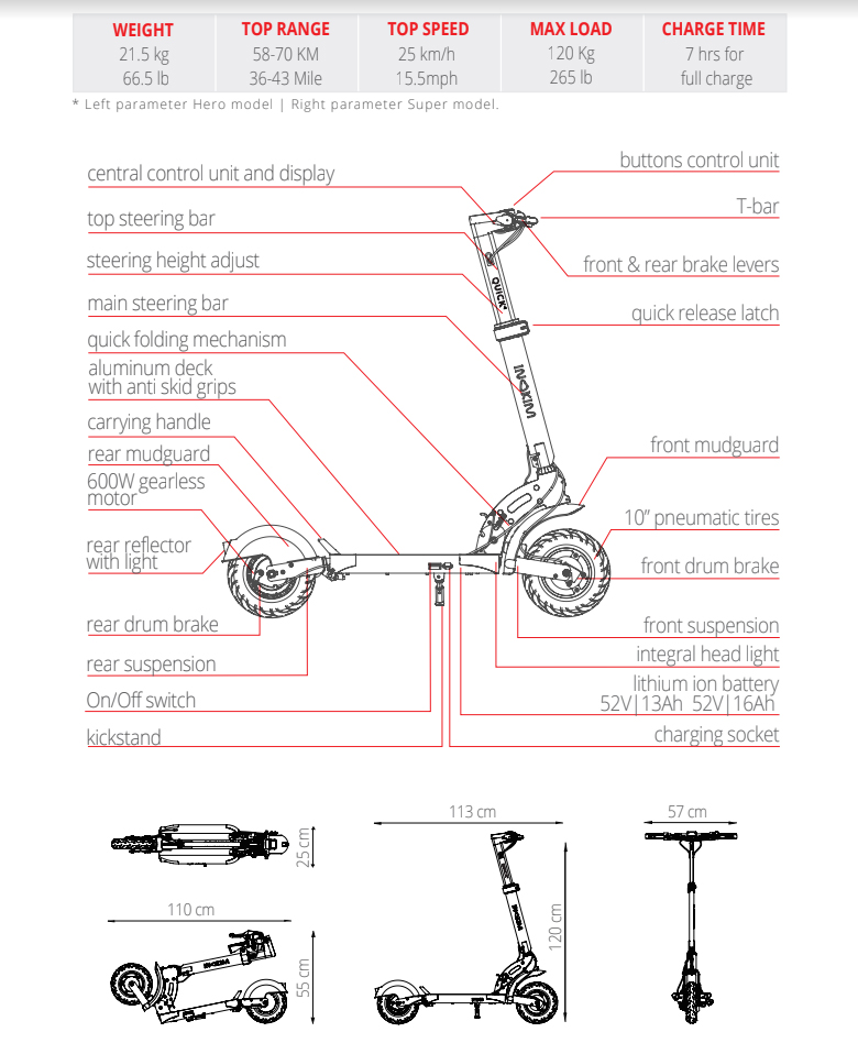 Quick 4 Specifications - Mi Scooter